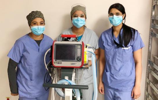 Mission Memorial Hospital RTs with Hamilton transport ventilator from TB Vets